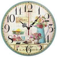 Ceas perete 28094, analog, rotund, din lemn, diametru 28 cm