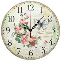 Ceas perete 28096, analog, rotund, din lemn, diametru 28 cm