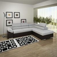 Coltar living extensibil pe stanga Magic, cu lada, gri + wenge, 260 x 205 x 90 cm, 3C