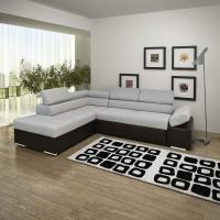 Coltar living extensibil pe dreapta Magic, cu lada, gri + wenge, 260 x 205 x 90 cm, 3C