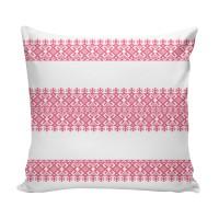 Perna decor BRD-003, alb + roz, poliester + fibra poliester siliconizata, cu print traditional, 43 x 43 cm
