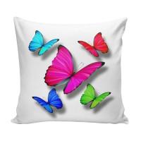 Perna decor 3D-001, multicolor, poliester + fibra poliester siliconizata, cu print fluturi, 43 x 43 cm