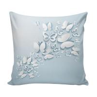 Perna decor 3D-002, alb + albastru, poliester + fibra poliester siliconizata, cu print fluturi, 43 x 43 cm