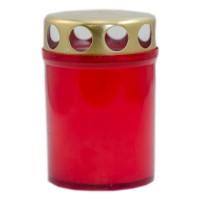 Candela decorativa M5, plastic + capac metal, h 8.5 cm, timp ardere 25 ore, rosie