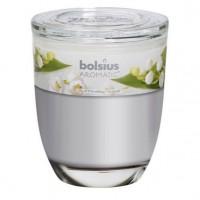 Lumanare pahar, alb, aroma lacramioara, 70 x 80 mm
