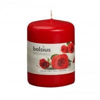 Lumanare decorativa NKS0181X80, tip stalp, rosu, aroma trandafir, 80 / 60 mm