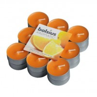 Lumanare tip pastila NKL9384, timp ardere 4 ore, aroma portocale, set 18 bucati