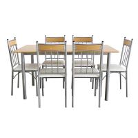 Set masa fixa cu 6 scaune tapitate AA0170, bucatarie, fag + bej, 1C