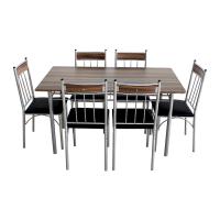 Set masa fixa cu 6 scaune tapitate AA0180, bucatarie, maro + negru, 1C