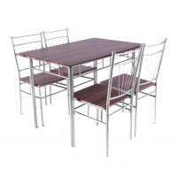 Set masa fixa cu 4 scaune AA0210, bucatarie, maro