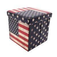 Taburet USA tip cub, cu spatiu depozitare, pliabil, patrat, imitatie piele multicolora, 38 x 38 x 38 cm