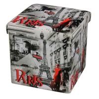 Taburet Paris tip cub, cu spatiu depozitare, pliabil, patrat, imitatie piele multicolora, 38 x 38 x 38 cm