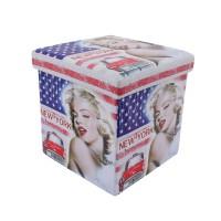 Taburet Marilyn Monroe tip cub, cu spatiu depozitare, pliabil, patrat, imitatie piele multicolora, 38 x 38 x 38 cm