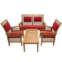 Set masa dreptunghiulara, cu 2  scaune + 1 banca cu perne, pentru gradina Miranda 211M, din lemn