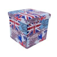 Taburet London tip cub, cu spatiu depozitare, pliabil, patrat, imitatie piele multicolora, 38 x 38 x 38 cm