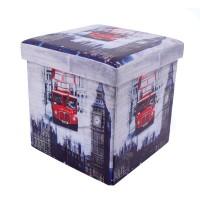 Taburet Big Ben tip cub, cu spatiu depozitare, pliabil, patrat, imitatie piele multicolora, 38 x 38 x 38 cm