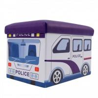 Taburet Police tip cub, cu spatiu depozitare, pliabil, dreptunghiular, imitatie piele multicolora, 48 x 32 x 32 cm