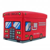 Taburet Fire Truck tip cub, cu spatiu depozitare, pliabil, dreptunghiular, imitatie piele multicolora, 48 x 32 x 32 cm