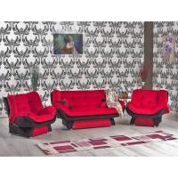 Canapea extensibila + fotolii Lale, rosu + negru, 3C