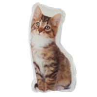 Perna decor BG01563, alb + maro, poliester + spuma, forma pisica, 27 x 42 x 10 cm