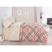 Lenjerie de pat, 2 persoane, Karya Khave, bumbac + poliester, 4 piese, crem + rosu + negru