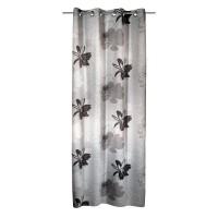 Perdea Blackout 268963, cu inele, din poliester, gri cu model floral, h 245 cm, l 135 cm