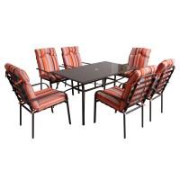 Set masa dreptunghiulara, cu 6 scaune cu perne, pentru gradina Doha, din metal