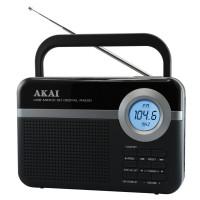 Radio digital FM portabil Akai PR006A-471U, 0.8 W, alimentare retea sau baterii, USB, microSD card slot, Aux in, antena FM telescopica