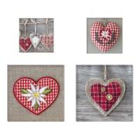 Tablou, 4 piese, Inimi COL003, canvas + lemn de brad, 2 piese - 30 x 30 cm + 2 piese - 20 x 20 cm