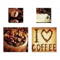 Tablou, 4 piese, I Love Coffee COL005, canvas + lemn de brad, 2 piese - 30 x 30 cm + 2 piese - 20 x 20 cm