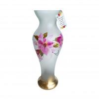 Vaza Valentina, sticla pictata, alb, model floral, H 49 cm