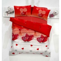 Lenjerie de pat, 2 persoane, Ranforce Altinba Lovely, bumbac 100%, 4 piese, alb + rosu