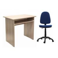 Birou calculator Pitic, stejar bardolino + scaun birou ergonomic Golf, albastru inchis