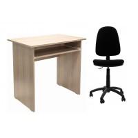 Birou calculator Pitic, stejar bardolino + scaun birou ergonomic Golf, negru