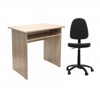 Birou calculator Pitic, stejar bardolino + scaun birou ergonomic Golf, gri inchis