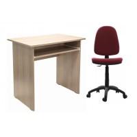 Birou calculator Pitic, stejar bardolino + scaun birou ergonomic Golf, grena