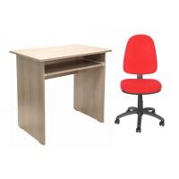 Birou calculator Pitic, stejar bardolino + scaun birou ergonomic Golf, rosu