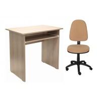 Birou calculator Pitic, stejar bardolino + scaun birou ergonomic Golf, maro