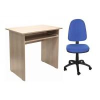 Birou calculator Pitic, stejar bardolino + scaun birou ergonomic Golf, albastru deschis
