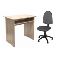 Birou calculator Pitic, stejar bardolino + scaun birou ergonomic Golf, gri deschis