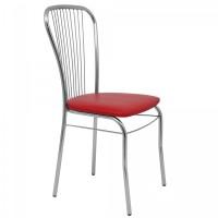 Scaun bucatarie / living fix Arco, tapitat, metal cromat + imitatie piele rosie