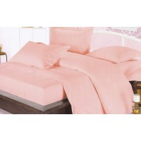 Lenjerie de pat, 2 persoane, Damasc, bumbac 100%, 4 piese, roz