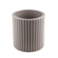Ghiveci din plastic cu finisaj ratan sintetic Curver, pentru exterior, gri D 28 cm