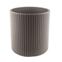 Ghiveci din plastic cu finisaj ratan sintetic Curver, pentru exterior, gri D 44 cm