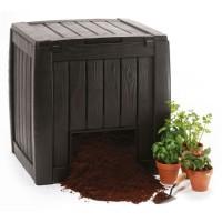 Lada compost pentru gradina Curver, din PVC, maro, 72 x 69.5 x 72 cm, 340 L