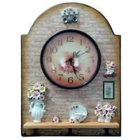 Cuier decorativ D60, pentru hol, cu 3 agatatori si ceas
