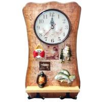 Cuier decorativ D59, pentru hol, cu 2 agatatori si ceas
