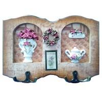 Cuier decorativ D51, pentru hol, cu 2 agatatori