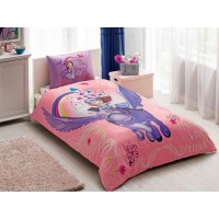 Lenjerie de pat, copii, 1 persoana, Disney Sofia & Minimus, bumbac 100%, 3 piese, multicolor