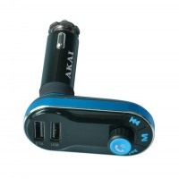 Modulator FM auto Akai FMT-66B, Bluetooth, USB, SD Card reader, Aux in, functie incarcator telefon, microfon incorporat, telecomanda